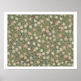 小さいピンクおよび白い花の壁紙のデザイン ポスター