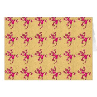 小さいピンクのヤモリ カード