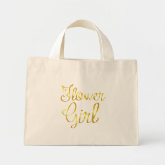 小さいフラワー・ガールの金ゴールド小さい ミニトートバッグ