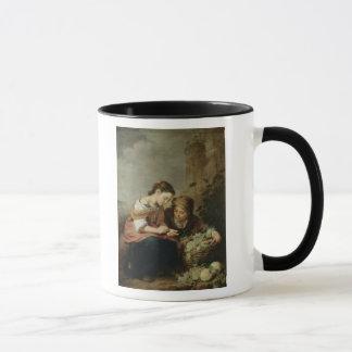 小さいフルーツ販売人1670-75年 マグカップ