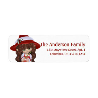 小さいブルネットのクリスマスの魔法使い 返信用宛名ラベル