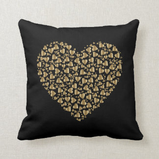 小さいプリズム金ゴールド愛ハートの黒い装飾用クッション クッション