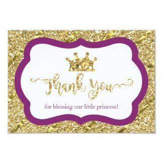 小さいプリンセスのサンキューカードの紫色の模造のなグリッター カード