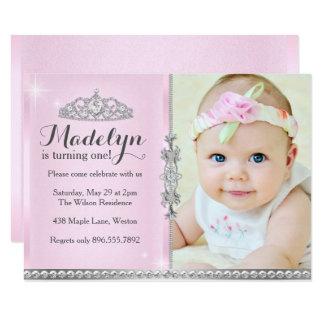 小さいプリンセスの最初誕生日のピンクの招待状 カード