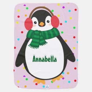 小さいペンギンのベビーブランケット(子供の名前を加えて下さい) 赤ちゃん 毛布