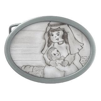 小さいメリーおよびベビーイエス・キリスト-スケッチ 卵形バックル