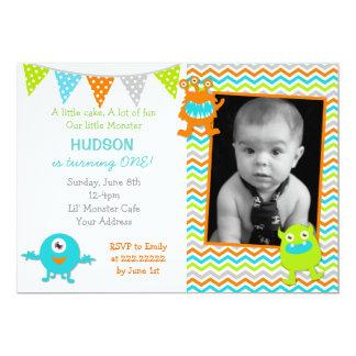 小さいモンスターの写真の誕生日の招待状 カード