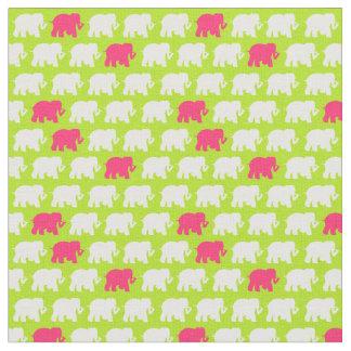 小さいライムグリーン象の生地 ファブリック