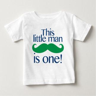 小さい人の口ひげの誕生日のワイシャツの海軍及び緑 ベビーTシャツ