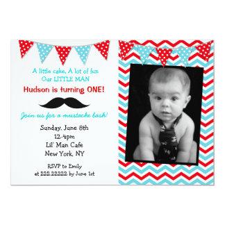 小さい人の髭のバースデーパーティ招待状 カード