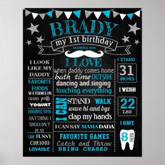 小さい人のMustche Onederfulの誕生日の黒板 ポスター