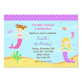 小さい人魚のバースデーパーティ招待状 12.7 X 17.8 インビテーションカード