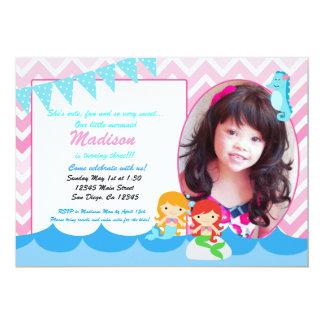 小さい人魚の女の子の誕生日のパーティの招待状 カード