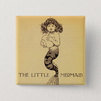 小さい人魚 5.1CM 正方形バッジ