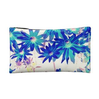小さい化粧品のバッグの青の花 コスメティックバッグ