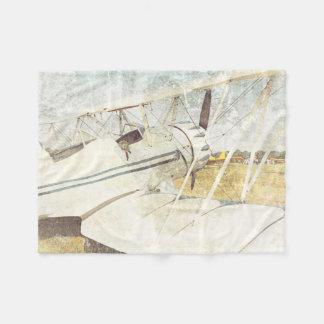 小さい古く青い飛行機の複葉機のフリースブランケット フリースブランケット