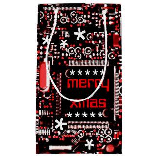 小さい回路の赤2のメリークリスマス スモールペーパーバッグ