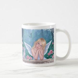 小さい奇跡のかわいい天使及び子ネコのマグ コーヒーマグカップ
