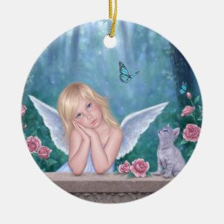 小さい奇跡の天使の子供及び子ネコのオーナメント セラミックオーナメント