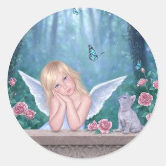 小さい奇跡の天使の子供及び子ネコのステッカー ラウンドシール