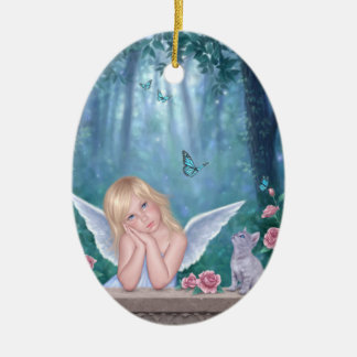 小さい奇跡の天使の子供及び子ネコの楕円形のオーナメント セラミックオーナメント
