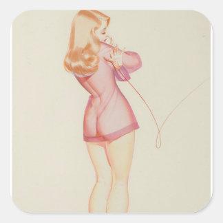 小さい女の子、芸術の上の1945年5月Pin 正方形シール・ステッカー