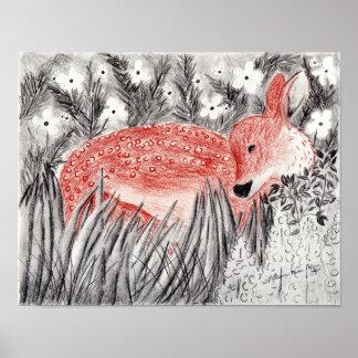 小さい子鹿のスケッチ ポスター
