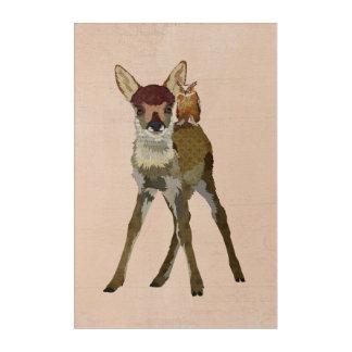 小さい子鹿及びフクロウ アクリルウォールアート