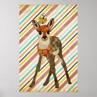 小さい子鹿及び小さい鳥の芸術ポスター ポスター