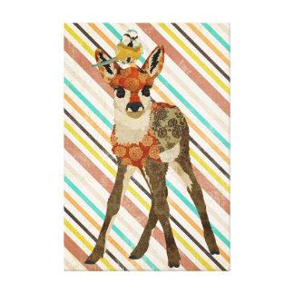 小さい子鹿及び鳥のキャンバス キャンバスプリント