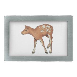 小さい子鹿、シカ: 元の色の鉛筆の芸術 長方形ベルトバックル