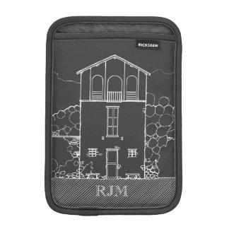 小さい家の名前入りな灰色に黒板の引くこと iPad MINIスリーブ