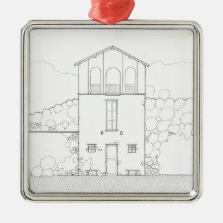 小さい家の黒く及び白い建築インクスケッチ シルバーカラー正方形オーナメント