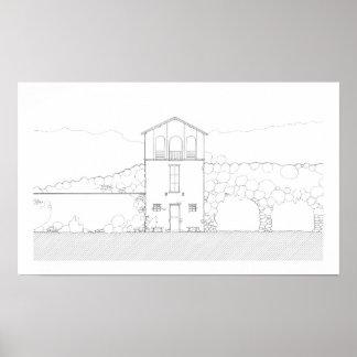 小さい家の黒く及び白い建築インクスケッチ ポスター