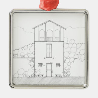 小さい家の黒く及び白い建築インクスケッチ メタルオーナメント
