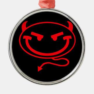 小さい意地悪な人の赤のロゴ シルバーカラー丸型オーナメント
