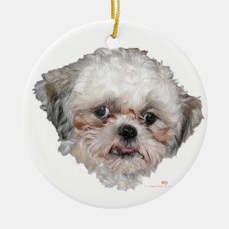 小さい救助されたシーズー(犬)のTzuの頭部の勉強 セラミックオーナメント