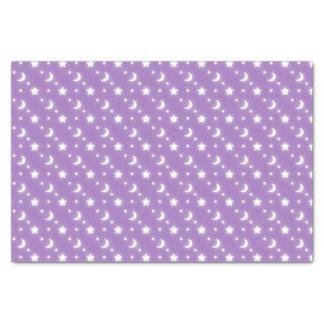 小さい星および月の紫色の背景パターン 薄葉紙