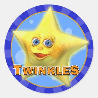 小さい星のステッカーは光ります ラウンドシール