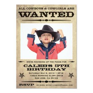 小さい望まれたポスター子供のパーティー- 11.4 X 15.9 インビテーションカード