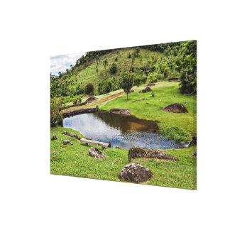 小さい木のベンチが付いている池 キャンバスプリント