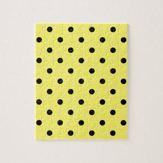 小さい水玉模様-レモンの黒 ジグソーパズル