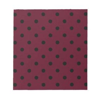 小さい水玉模様-暗い深紅の黒 ノートパッド