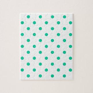 小さい水玉模様-白のカリブのな緑 ジグソーパズル