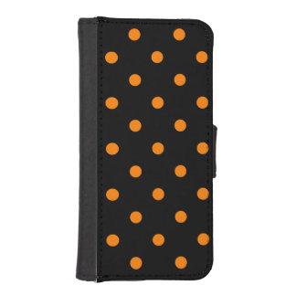 小さい水玉模様-黒のオレンジ ダイアリー IPHONE5ケース