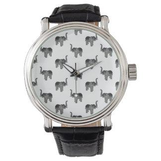 小さい灰色象パターン 腕時計