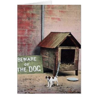 小さい犬が付いている犬の印の用心して下さい カード