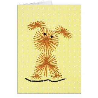 小さい犬の刺繍の挨拶状 カード