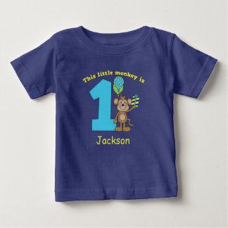 小さい猿の子供の第1誕生日のカスタム ベビーTシャツ
