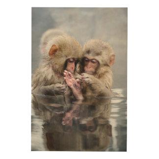 小さい猿  Hot Springs、日本 ウッドウォールアート